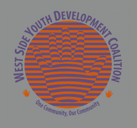 West Side Youth Development Coalition logo. Orange sphere with name of the coalition circling it.