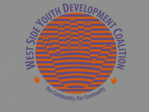 West Side Youth Development Coalition logo. Orange sphere with coalition name circling it.