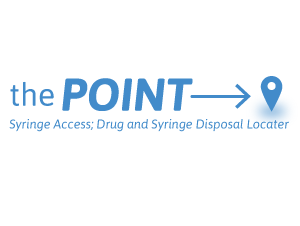 The Point logo. The words The Point followed by and arrow pointing to the right. Underneath are the words Syringe Access; Drug and Syringe Disposal Locater.